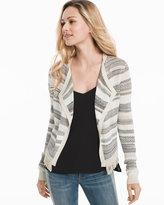 White House Black Market Striped Mix Stitch Sweater Jacket