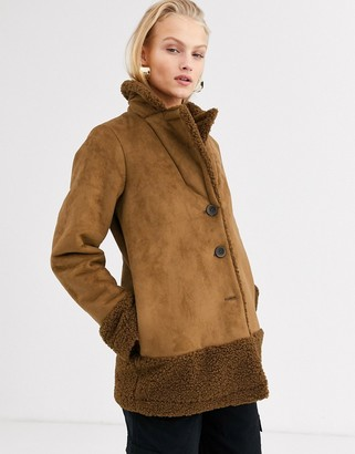 Only shearling jacket with borg trims in brown-Beige