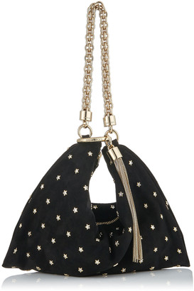 Jimmy Choo CALLIE Black Suede Clutch Bag with Crystal Star Studs and Chain Strap