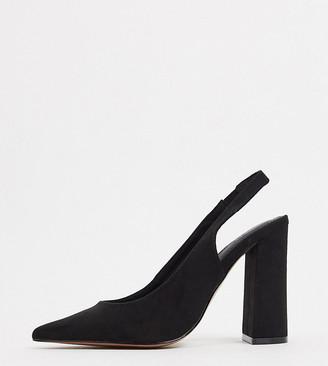 ASOS DESIGN Wide Fit Parson slingback high block heels in black
