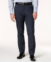 Kenneth Cole Reaction Men's Blue Windowpane Plaid Slim-Fit Dress Pants