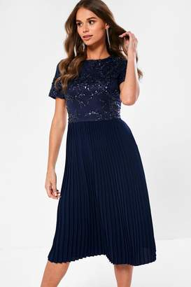 Iclothing iClothing Ariel Sequin Detail Occasion Dress in Navy