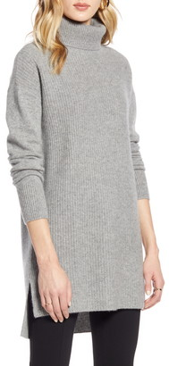 Halogen High/Low Tunic Turtleneck Cashmere Sweater