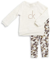 Calvin Klein Girls 2-6x Crocheted Pullover and Floral Leggings Set