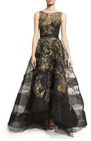 Marchesa Sleeveless Hand-Embroidered Illusion Gown & Capelet, Black/Metallic