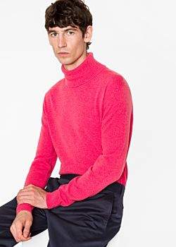 Paul Smith Men's Pink Cashmere Roll Neck Sweater