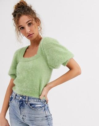 Asos Design DESIGN square neck fluffy jumper with short sleeve-Green