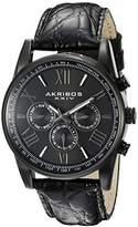 Akribos XXIV Men's AK864BK Multifunction Black Leather Strap Watch