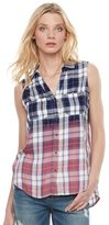 Rock & Republic Women's Sleeveless Plaid Shirt