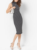 Michael Kors Stretch-Viscose Striped Ribbed Turtleneck Dress