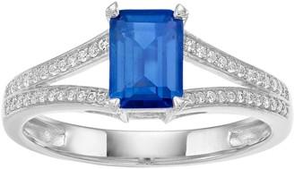 Unbranded 10k White Gold Sapphire & 1/8 Carat T.W. Diamond Split Shank Ring