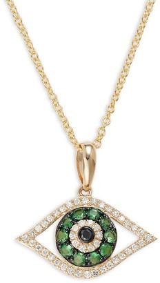 Effy 14K Yellow Gold, Tsavorite, White Diamond Black Diamond Evil Eye Pendant Necklace