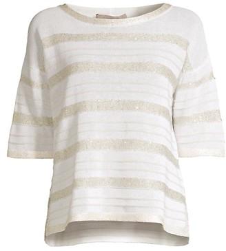 D-Exterior Tonal Striped Paillette Knit Sweater