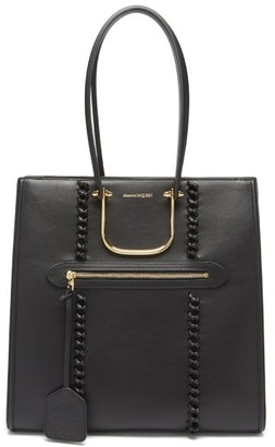 Alexander McQueen The Tall Story Whipstitched Leather Tote Bag - Black