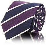 Barneys New York MEN'S DIAGONAL-STRIPED DUPIONI NECKTIE-NAVY