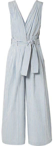 Mes Demoiselles Classic Striped Cotton-voile Jumpsuit - Blue
