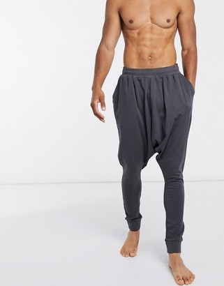 ASOS DESIGN lounge drop crotch jogger in washed black