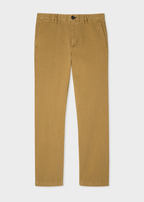 Men's Mid-Fit Tan Stretch-Cotton Chinos