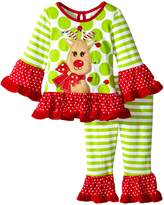 Rare Editions Baby Baby-Girls Infant Lime Reindeer Applique Legging Set Infant
