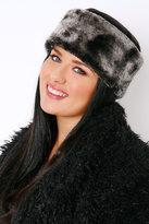 Yours Clothing Black Fleece Hat With Faux Fur Trim