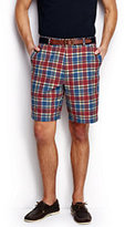 "Classic Men's Traditional Fit 9"" Summer Casual Madras Shorts-Creole Red Madras"