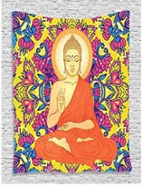 WCHUANG Mandala Decor Collection, Meditating Mandala Lotus on Her Head Yoga Theme Chakra Image, Bedroom Living Room Dorm Wall Hanging Tapestry (29)