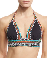 Nanette Lepore Tribal Beat Vixen Halter Swim Top, Black