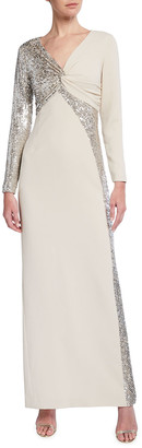 Rickie Freeman For Teri Jon Sequin Trim Twist-Front Long-Sleeve Crepe Gown