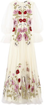 Alexander McQueen Embroidered Tulle Gown - White