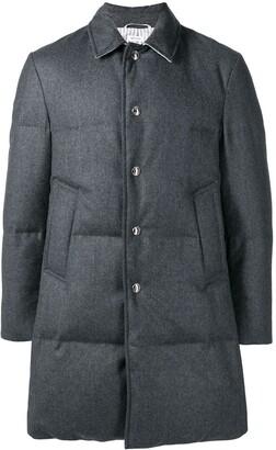 Thom Browne Wool Flannel Bal Collar Overcoat