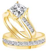 Jewel Zone US White Cubic Zirconia Engagement and Wedding Fashion Ring Set In 14k Gold Over Sterling Silver (3.25 Cttw)