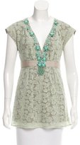 Nanette Lepore Bead-Accented Embroidered Top