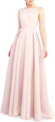 Mac Duggal Ieena for Bateau-Neck Sleeveless Open-Back Pleated A-Line Gown