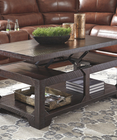 Signature Design by Ashley Rustic Brown Rogness Lift Top Cocktail Table