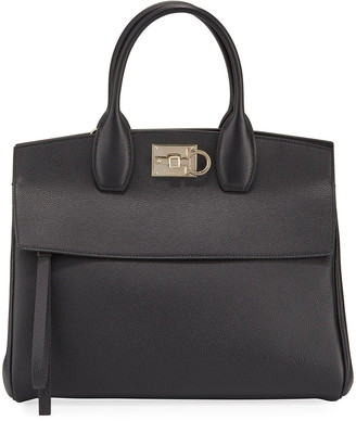 Salvatore Ferragamo Studio Medium Grainy Leather Satchel Bag