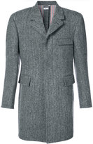 Thom Browne Button Back Classic Chesterfield Overcoat In Herringbone Harris Tweed