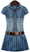 ACE SHOCK Women's Summer Slim Fit Belted Denim Jeans Jumpsuit Short Dress Plus Size (L)
