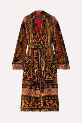 Etro Belted Printed Velvet Robe - Gold