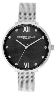 Christian Siriano New York Christian Siriano Women's Analog Silver-Tone Mop Stainless Steel Mesh Watch 38mm