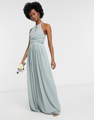 TFNC bridesmaid pleated wrap detail maxi dress in sage