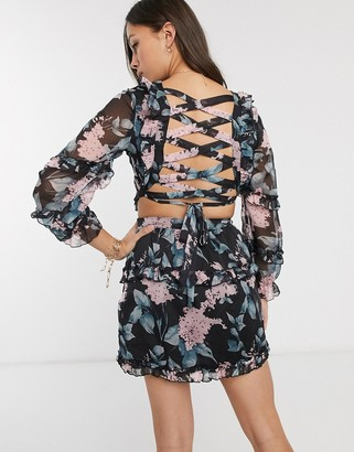 Parisian cross back dress in floral print