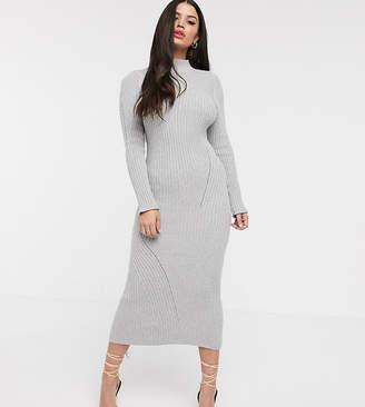 Asos DESIGN Petite maxi knitted dress in moving rib-Grey