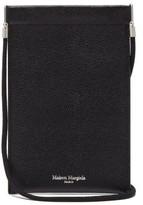 Maison Margiela Logo-print Grained-leather Neck Pouch - Mens - Black