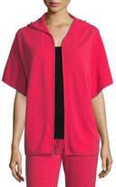 Neiman Marcus Cashmere Short-Sleeve Zip-Front Hoodie