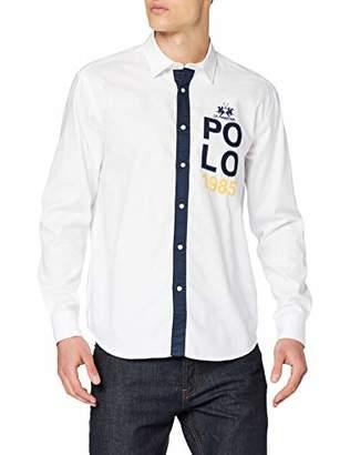 La Martina Men's Man L/s Oxford Cotton Shirt Casual (Optic White 00001)