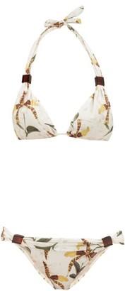 Adriana Degreas Orchid-print Triangle Bikini - Womens - White Print
