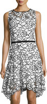 Taylor Floral Mesh Lace Cocktail Dress, Ivory/Black