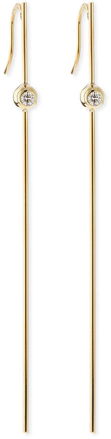 Mizuki 14k Gold Long Bar Earrings with Diamonds