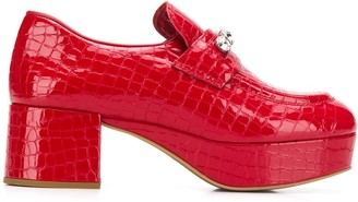 Miu Miu crystal embellished patent leather loafers