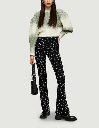 Topshop Floral-print flared high-rise stretch-woven trousers